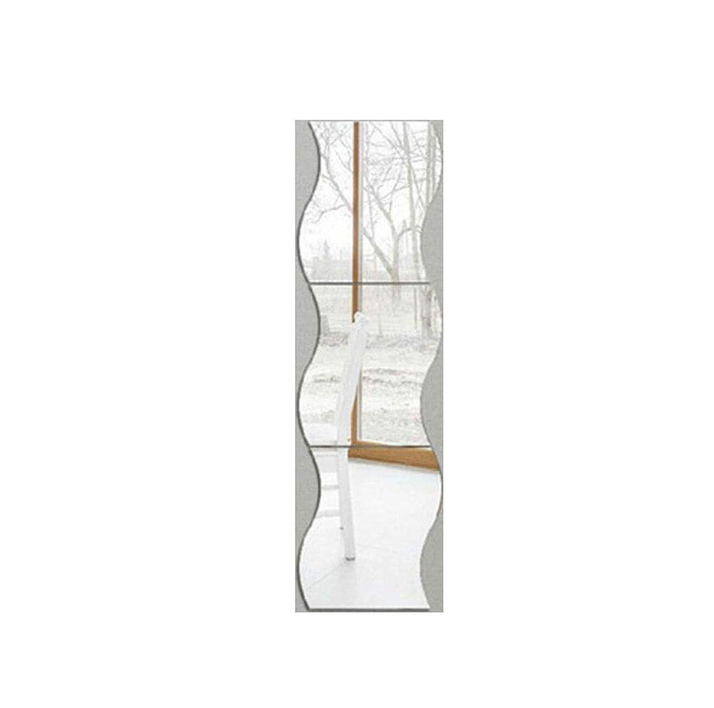 浸食過剰戸棚ミラーウォールステッカー3D高品質ミラー表面自己接着防水ミラーウェーブウォールステッカー
