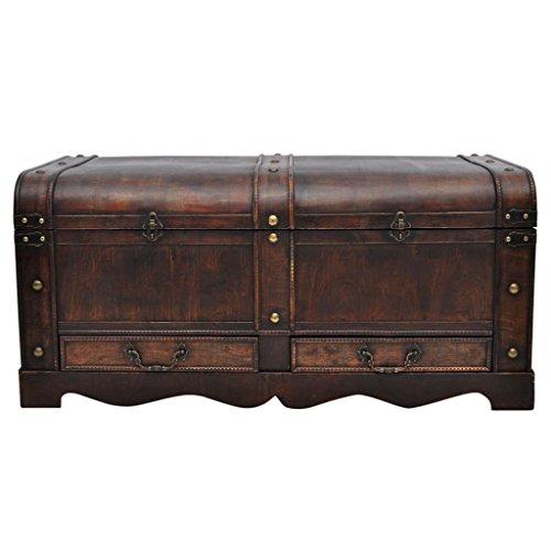 Cofre del tesoro de madera, baúl grande para juguetes, aspecto antiguo, caja fuerte de madera, regalo decorativo, marrón, 90 x 51 x 42 cm