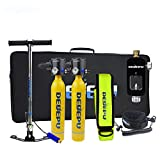 Scuba Tank 0.5L Cylinder 2 S3000plus Oxygen Tank Diving Kit for Two Converter Manual Pump Color Yellow