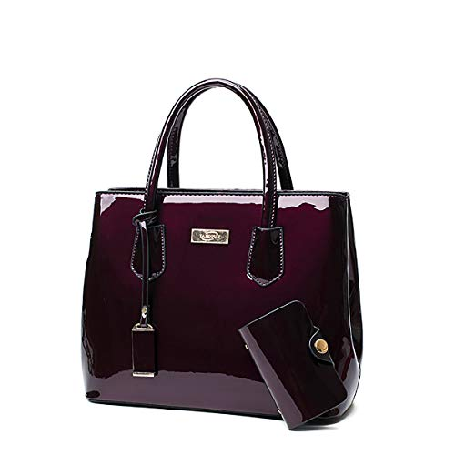 Tisdaini® Bolsos de mano Mujer Bolsos bandolera moda charol Bolsos totes Shoppers y bolsos de hombro Púrpura