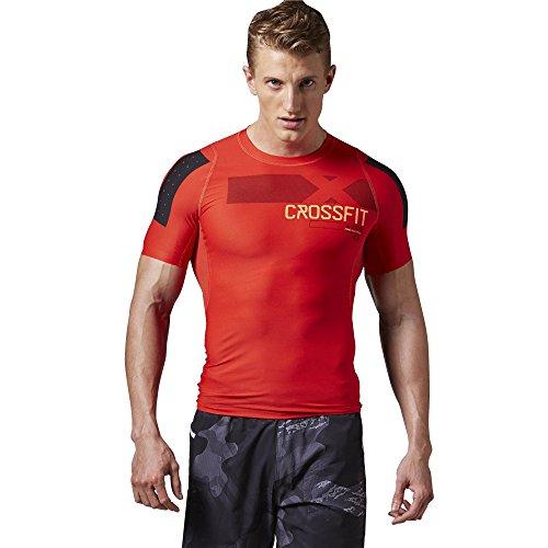 Reebok Crossfit–Camiseta de compresión de Hombre pwr6 Rojo Motor Red Talla:Large