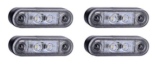 Lot de 4 feux de gabarit blancs à LED 12-24 V pour camion, caravane, camping-car, bus, van