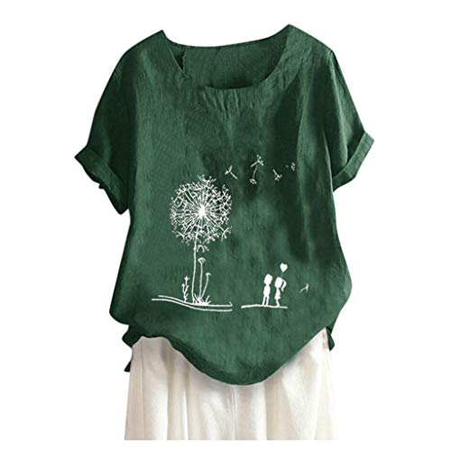MOTOCO Damen Modisch Bedrucktes T-Shirt Lässige Lose O-Ausschnitt Kurzarm Tops Bluse Übergröße(L.Grün-2)