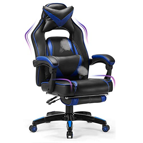 Kealive Gaming Chair Reclining Racing Chair, Ergonomic Office Chair with High Back and PU Leather, Adjustable Swivel Computer Chair with Headrest and Lumbar Support Footrest