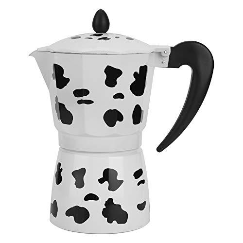Estufa para cafetera exprés, color vaca lechera, estufa de aluminio, espresso, ollas Moka, cafetera, 3 tazas, 6 tazas, 9 tazas, no para calentamiento de cocinas de inducción(3Cup)