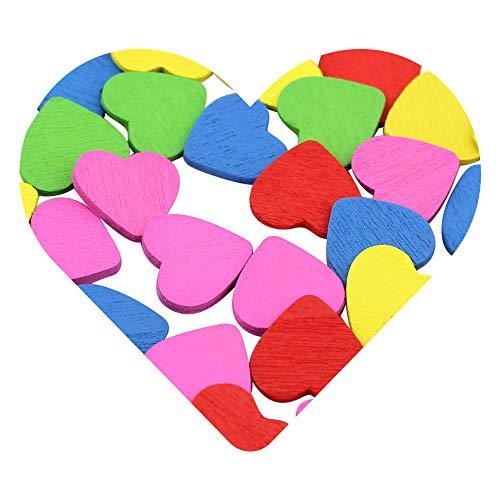 DEKOWEAR Corazón autoadhesiva con punto de pegamento 50 piezas para la Decoración de Madera de 18 mm, como una Muestra de Amor en Forma de Corazón - Amuleto de buena suerte Hecha a Mano (Color)