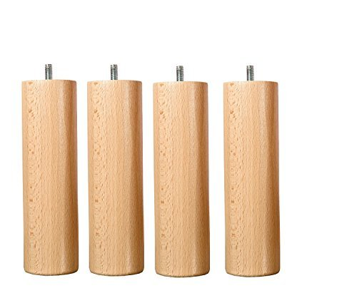 Wood Select JEU DE 4 Pieds lit 25 cm Plusieurs Types de Fixation (Pied Standard)