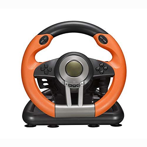 TWW Spielkonsole Lenkrad Computer Spielkonsole Computer Rennspiel Lenkrad Autosimulation Fahrer,Orange