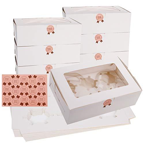 Heyu-Lotus Cupcake-Boxen mit Fenster und Einsätzen, für 6 Standard-Cupcakes, weiße Kuchen-Boxen für Gebäck, Cupcakes und Kekse, 10 Stück