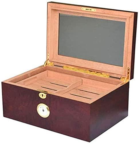 WANGXIAOYUE Caja de cigarros Tapa de Cristal Humidor de Madera Cedro de Cedro Almacenamiento Humidor Caja de Pantalla de cigarro con Bandeja Caja de Tabaco
