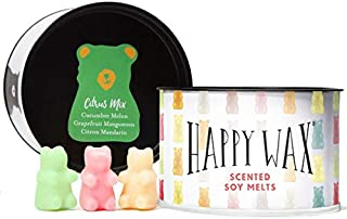 Happy Wax Citrus Mix, Scented Soy Wax Melts - Bear Shapes Perfect for Mixing Melts in Your Warmer! 3.6 Oz Classic Tin (Grapefruit Mangosteen, Cucumber Melon, Citron Mandarin)