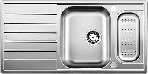 BLANCO LIVIT 6 S CENTRIC - Fregadero (Acero inoxidable, 2 senos, 340 x 340 mm, 16 cm, 165 x 340 mm, 13,7 cm)