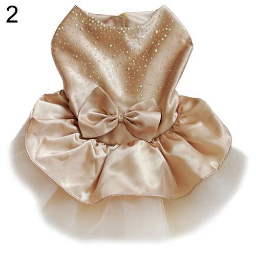 strimusimak Hund Welpen Bogen Gaze Tutu Kleid Rock Katze Pailletten Prinzessin Kleidung Bekleidung Pet Geschenk Champagne M