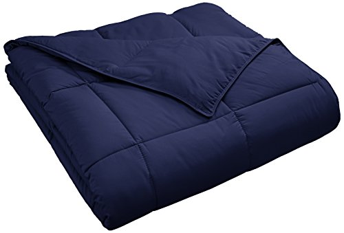 Superior Classic All-Season Down Alternative Comforter with Baffle Box Construction, Full/Queen, Navy Blue
