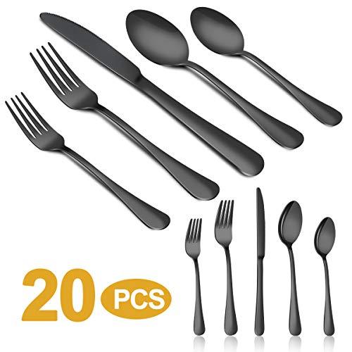 Silverware Set, MASSUGAR 20-Piece Silverware Flatware Cutlery Set, Stainless Steel Utensils Service for 4, Include Knife/Fork/Spoon, Black (Black)