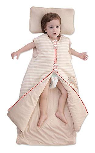DZHTSWD Bolso para Dormir de algodón de Invierno Saco de Dormir de Manga Larga Desmontable, Mantas para bebés portátiles con desamparo, Longitud Ajustable de la Manta de Baby Wrap, Cremallera d