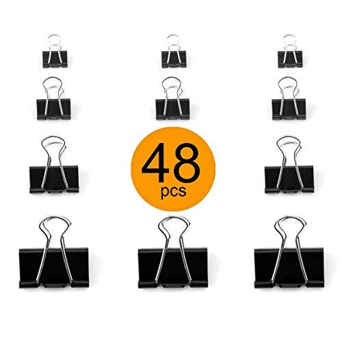 D.RECT Foldback-Klammern FoldBack Klemmen Vielzweckklammern Papier Metall Binder Clips für Notizen Briefpapier Clip Bürobedarf 15/19/25/32mm 4x12Stück Verpackung 48 Stück Schwarz