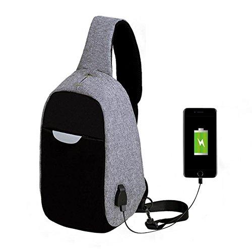 Bluelover Hombres Externa USB Carga Multi-Función Sling Bolsa Repelente Al Agua Anti Robo Bolsa para iPad - Gris