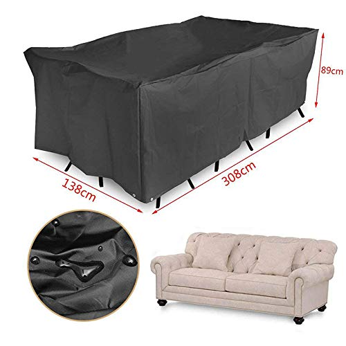 XiaoOu Waterproof Cover Oxford Cloth Outdoor Furniture Dustproof Cover For Rattan Table Cube Chair Sofa Waterproof Rain Garden Patio Protective Cover,242x162x100cm