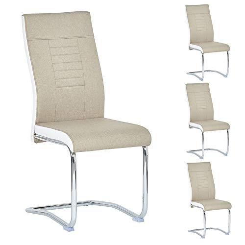 CARO-Möbel 4er Set Esszimmerstuhl ALBA Küchenstuhl Schwingstuhl, Stoffbezug in beige und weiß, Metallgestell in Chrom