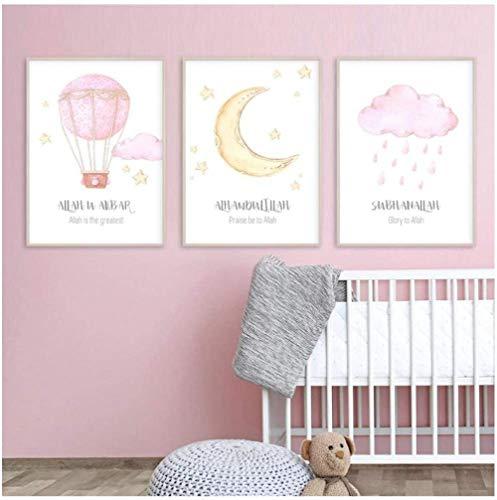 Alá islámica pared arte imágenes globo aerostático nubes vivero lienzo pintura impresión cartel imagen regalo bebé habitación decoración del hogar-40x60cmx3 piezas sin marco