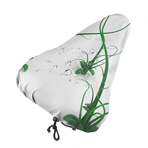 Bike Seat Cover Cute Funny Cartoon Green 3D Vine Plant Waterproof Bicycle Seat Rain Cover with Drawstring, Sun/Water/Dust Resistant Bike Saddle Cushion Cover Protector Shield for Women/Men/Unisex