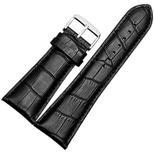 XKMY Correa de reloj de 21 23 mm, 24 mm, 26 mm, 28 mm, negro y marrón, correa de piel auténtica para hombre (color de la correa: negro, ancho de la correa: 22 mm)