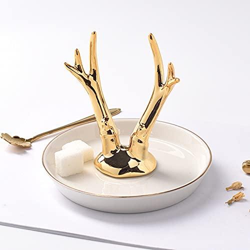 Bandeja de joyería de cerámica nórdica, organizador de collar y anillo, placa decorativa para manualidades, cuernos de cactus (color: 09)