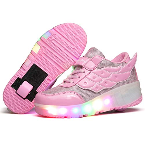 Charmstep Kinder Junge Mädchen LED Farbwechsel Lichter Blinken Schuhe mit Rollen Skateboard Rollschuhe Sport Outdoorschuhe Gymnastikschuhe Flügel-Art Sneaker,Pink,37EU