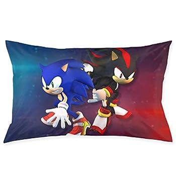 Sonic Throw Pillowcase Double Side Design Cushion Cover with Hidden Zipper Home Decor 20x35 Inch