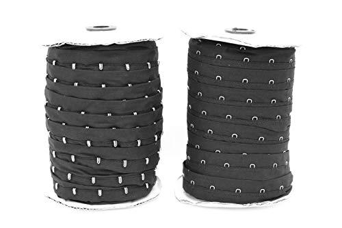 Haken- und Ösenband aus Baumwolle, 25 mm, 50 m, Schwarz