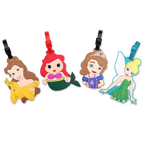 Finex Set von 4–Reise Gepäck Tags Tasche ID Tag mit Gurt, Multi-color (Disney Characters)