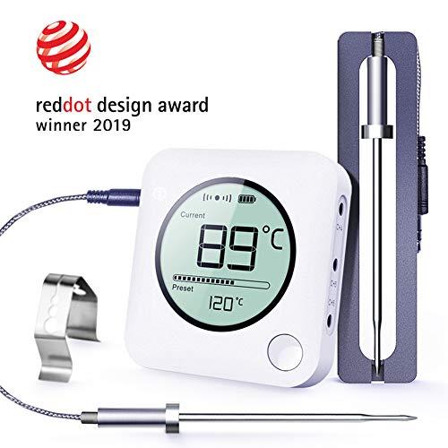 BFOUR Fleischthermometer Funk Bratenthermometer mit Zeitmesser, 2 Temperaturfühlern Sonden, Hintergrundbeleuchtung LED Display Sofortiges Auslesen, Digital Grillthermometer