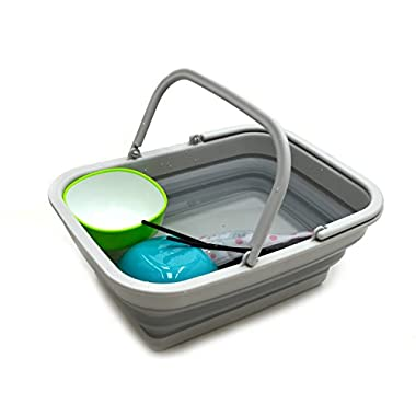 SAMMART 9.2L (2.37Gallon) Collapsible Tub with Handle - Portable Outdoor Picnic Basket/Crater - Foldable Shopping Bag - Space Saving Storage Container (Grey)