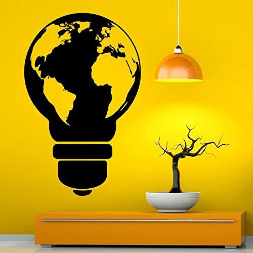 zzlfn3lv Ampoule Style Carte du Monde Mur de Vinyle Decal Autocollant Art Design Murales Conception Intérieur Décoration de La Maison pour Salon DIY 42 * 66 cm