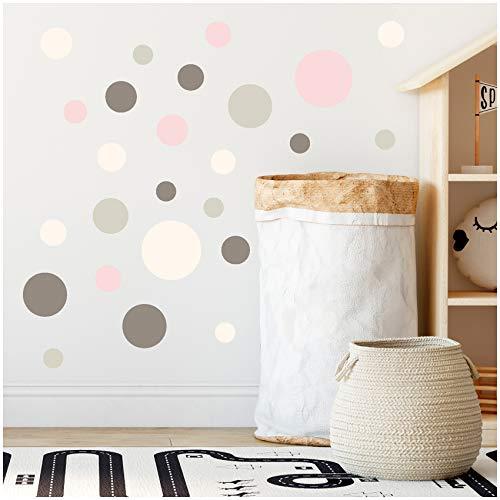 yabaduu 100 puntos adhesivos con círculos para pared de habitación de los niños, dormitorio de bebé, lámina decorativa autoadhesiva para niños y niñas pastel (Y035-9), color gris, rosa y beige
