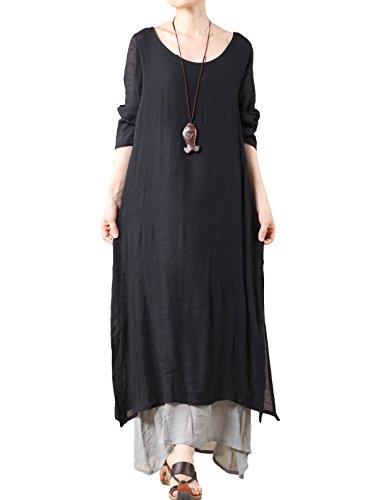 Vogstyle Mujeres Manga Corta Doble Capa Estival Vestido Largo Estilo 1 Negro M
