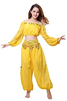 ZLTdream Belly Dance Chiffon Long Sleeves Top and Lantern Coins Pants Yellow
