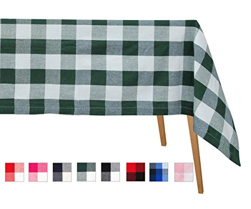 """Mantel a cuadros de búfalo verde - Mantel de algodón a cuadros - Mantel de tela escocesa verde azulado - Paños de mesa de algodón de lino Rectangular - Mantel 63 x 126 """"(verde y crema)"""