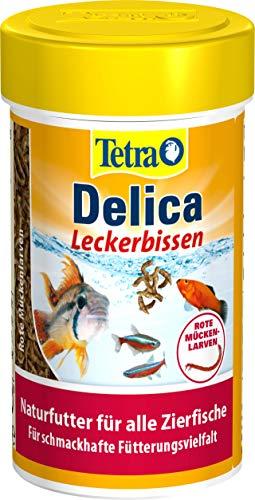 TetraDelica Bloodworms, Naturfutter für Zierfische, enthält zu 100% gefriergetrocknete rote Mückenlarven, 100 ml Dose