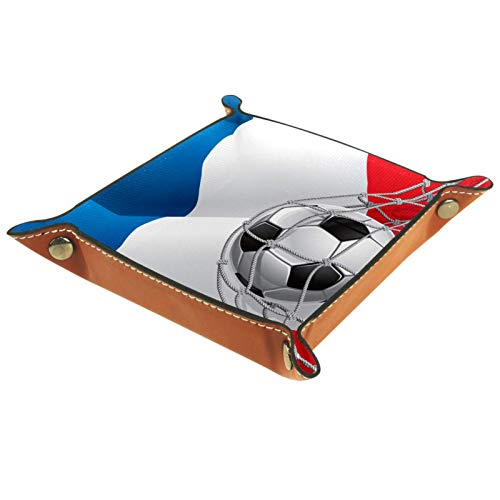 Bandeja de Cuero - Organizador - Bandera francesa de un balón de fútbol en la red - Práctica Caja de Almacenamiento para Carteras,Relojes,llaves,Monedas,Teléfonos Celulares y Equipos de Oficina