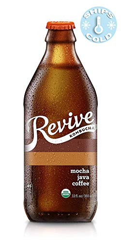 Revive Organic Kombucha - 12 Pack, Ships Cold - Live Cultures, Naturally Fermented Probiotic Drink | (Mocha Java Coffee)