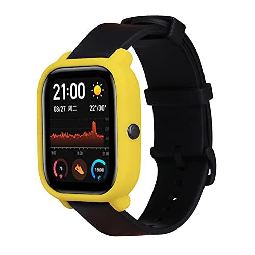 Funda Protectora a Prueba De Desgaste De Silicona Suave para Xiaomi Huami Amazfit GTS Smart Watch Accesorios De La Cubierta De La Caja De La Caja del Borde Completo (Color : 03 Yellow)