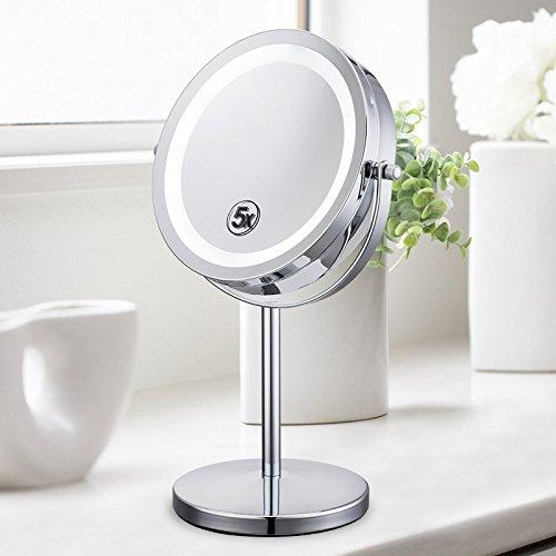 XIAOLE Miroir de beauté Maquillage Miroir Agrandissement Vanité Miroirs cosmétiques Ultra-HD Desktop Lampe Miroir à Double Face de Style européen Miroir Miroir LED Miroir à la loupe 33 × 17Cm