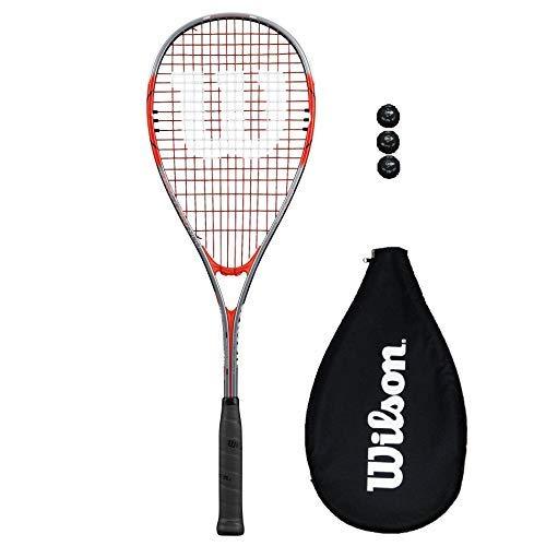 Wilson Impact Pro 900 - Racchetta da squash + 3 palline da squash, colore: Rosso/Grigio