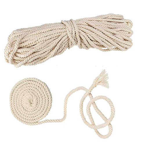 AILINDA - Cordoncino in cotone macramè, fatto a mano, per lavori a maglia, per uncinetto, tovagliette, cestini, corda per amaca da esterni (8 x 50 m)