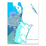 Cancun Map Poster 24x36, Cancun Map Art Print 8x10, Handmade Blue Green Geometric Cancun Decor, Cancun Wall Art Prints by Maps As Art, Yucatan Mexico, Isla Mujeres
