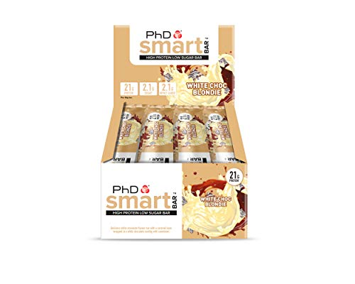 PhD Smart Bar High Protein Low Sugar Bar, White Choc Blondie, 64 g, Pack of 12