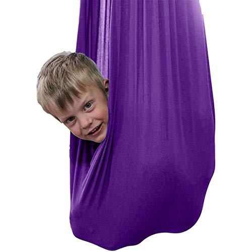Hamaca De Yoga Columpio De Terapia Para Niños Con Necesidades Especiales Terapia Abrazo Cubierta Oscilación For Autismo ADHD E Integración Sensorial ( Color : Dark purple , Size : 100×280CM/39×110in )