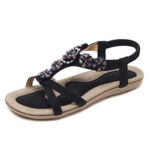 Frauen Knöchelriemen Sandalen Komfortable Lässige Outdoor Strand Schuhe Mode Böhmen Wohnungen Slip on Strass Damen Offene Spitze Schuhe